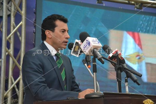 وزير الشباب والرياضة خلال القاء كلمته بالمؤتمر