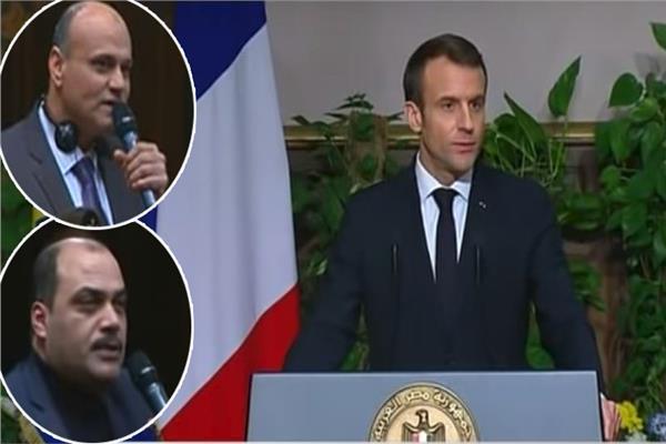 الرئيس الفرنسي إيمانويل ماكرون وفي الإطار خالد ميري ومحمد الباز
