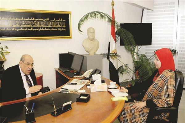 د.مصطفى الفقي خلال الحوار - تصوير هشام المصري