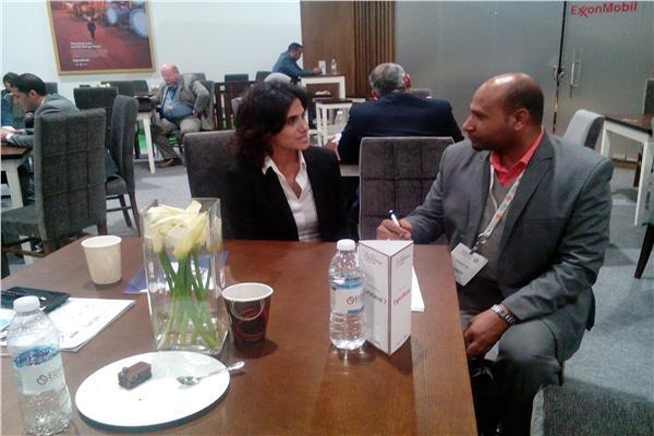المهندسة ليلى الحارص مع محرر بوابة أخبار اليوم