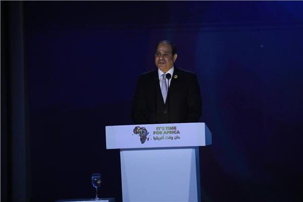 الرئيس السيسي خلال كلمته في الجلسة الافتتاحية للملتقى