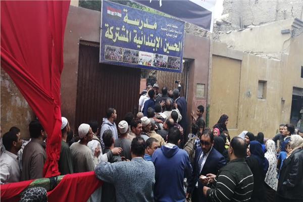 مظاهرة أمام إحدى مدارس الجمالية