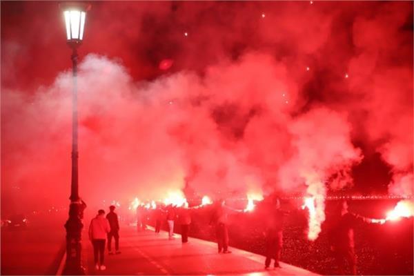 احتفالات جماهير باوك في مدينة سالونيكي
