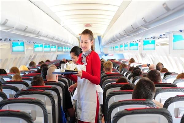 مضيفة تقدم وجبات للركاب- صورة تعبيرية