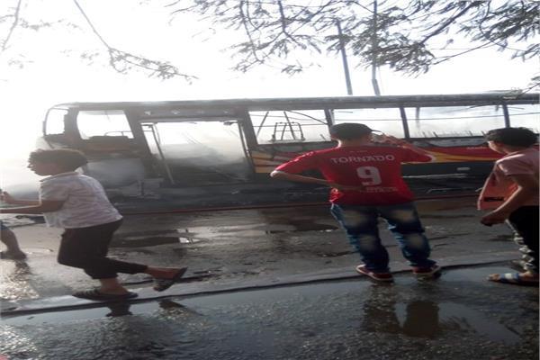 النيابة انتداب المعمل الجنائي لمعاينة حريق أتوبيس الهيئة