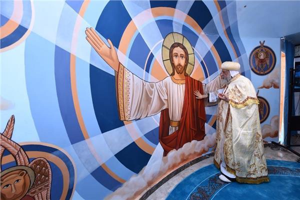 تدشين أيقونات كنيسة العذراء بالوجوه