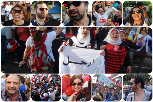 صورة مجمعه لمشاركة الفنانين بثورة 30 يونيو