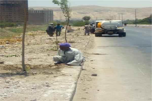 حملة لنظافة وتشجير وتجميل الطريق الدائري بالمدينة لإضفاء