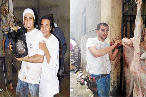 محمد ومحمود يمارسون الجزارة في العيد