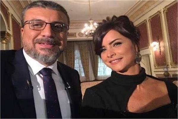 النجمة اللبنانية نور واﻻعلامي عمرو الليثى