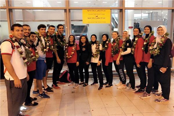 بعثة التايكوندو تعود لمصر بعد المشاركة في دورة الألعاب الإفريقية