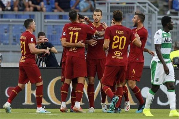 فرحة لاعبي فريق روما بالفوز