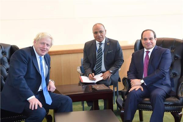 الرئيس السيسي مع رئيس وزراء المملكة المتحدة بوريس جونسون