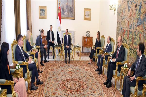 الرئيس السيسي خلال اللقاء مع وزير الصناعة الروسي