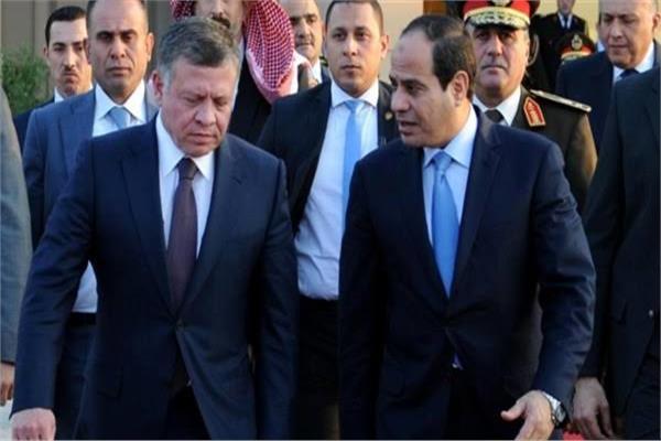 """الملك عبدالله الثانى والرئيس عبد الفتاح السيسي """"صورة ارشيفية"""""""