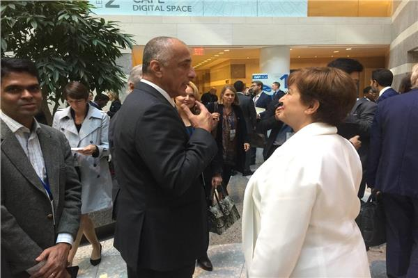 طارق عامر مع مديرة صندوق النقد الدولي