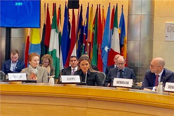 وزيرة الاستثمار تشارك في جلسة حول حماية الصحة العالمية