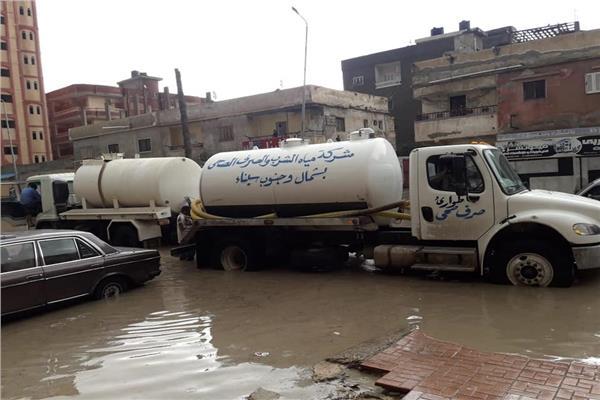 هطول أمطار رعدية غزيرة علي سيناء