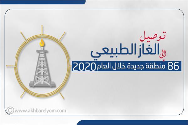 إنفوجراف |  توصيل الغاز الطبيعي إلى 86 منطقة جديدة خلال العام 2020