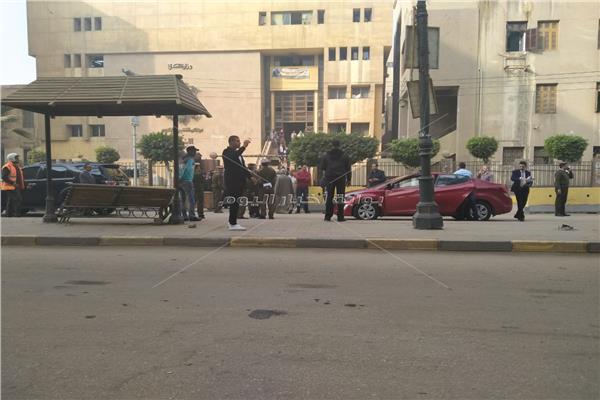 لحظة وصول محافظ المنوفية محكمة شبين الكوم لمتابعة محاكمة راجح