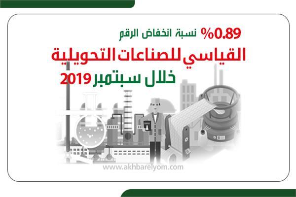 إنفوجراف | 0.89% نسبة انخفاض الرقم القياسي للصناعات التحويلية خلال سبتمبر 2019