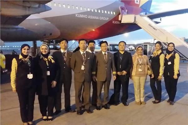 مصر للطيران للخدمات الأرضية تحتفل باستقبال أول رحلة لشركة Asiana الكورية