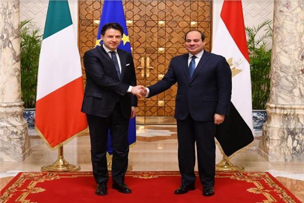 الرئيس عبد الفتاح السيسي مع رئيس وزراء ايطاليا