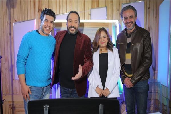 الشاعر سالم الشهباني والنجمان حنان ماضي وعلي الحجار والملحن شادي مؤنس