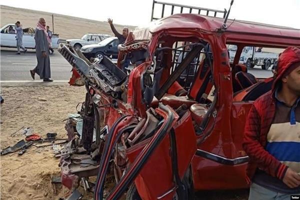 آثار حادث طبيبات المنيا