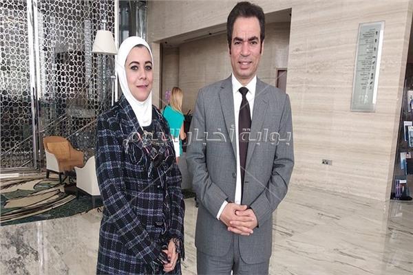 الإعلامي أحمد المسلماني مع محررة بوابة أخبار اليوم