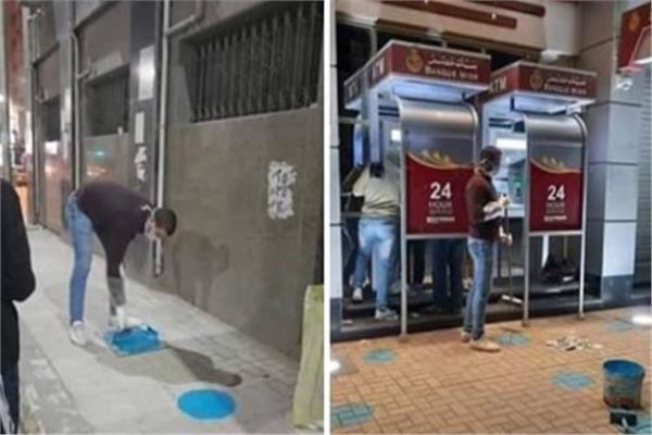 «سيب مسافة».. علامات توعية أمام ماكينات الصرف لمواجهة كورونا