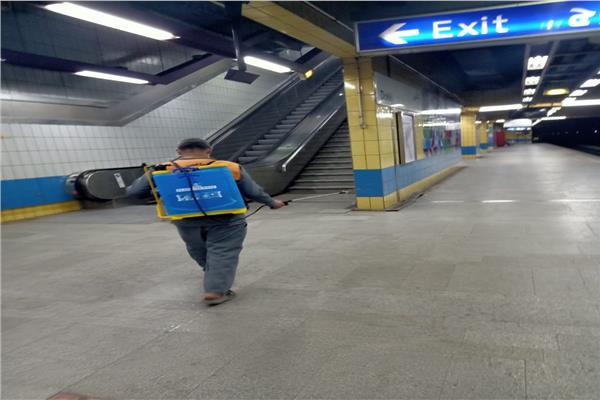 تعقيم قطارات مترو الأنفاق