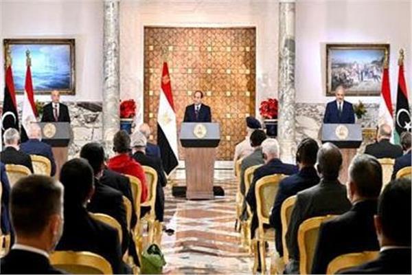 خلال مؤتمر الرئيس عبد الفتاح السيسي  لحل الأزمة الليبية