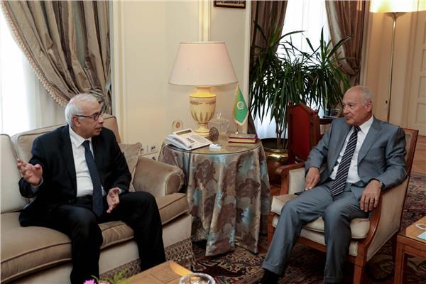 أحمد أبو الغيط خلال حواره مع رئيس مجلس إدارة وتحرير وكالة أنباء الشرق الأوسط