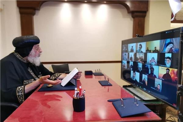 البابا تواضروس يلتقي كهنة الخليج عبر zoom