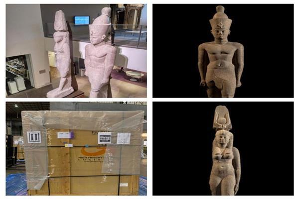 عودة تمثالين ملكيين إلى مصر لعرضهما بالمتحف المصري الكبير