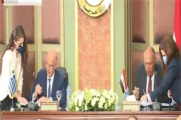 مراسم توقيع اتفاقية ترسيم الحدود البحرية بين مصر واليونان