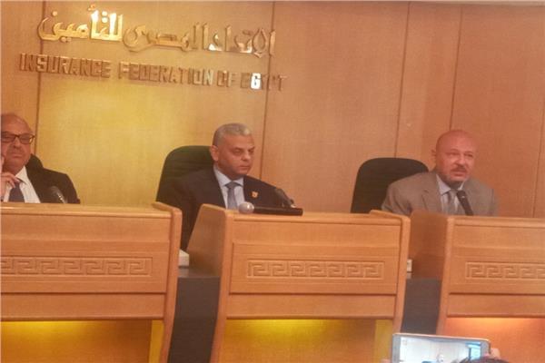 جانب من مؤتمر صحفي بالاتحاد المصري للتأمين