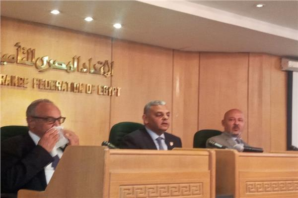 جانب من  مؤتمر صحفي بالاتحاد المصري شركات التأمين