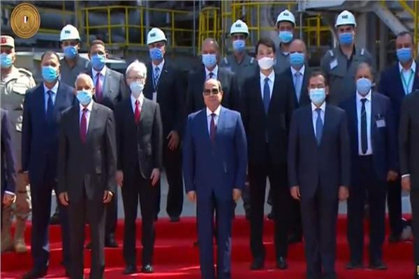 الرئيس عبد الفتاح السيسي أثناء افتتاح مصفاة المصرية