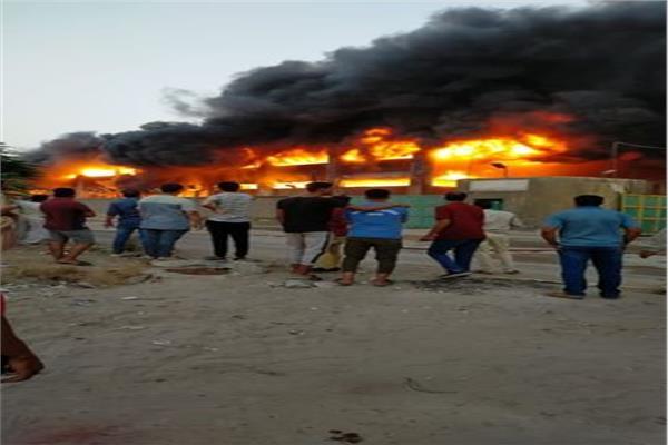 حريق هائل بمصنع سكر بطريق الخانكة