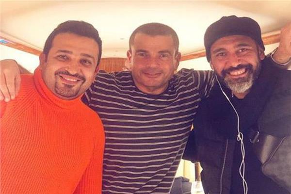 تامر حسين  مع عمرو دياب  و عمرو مصطفى