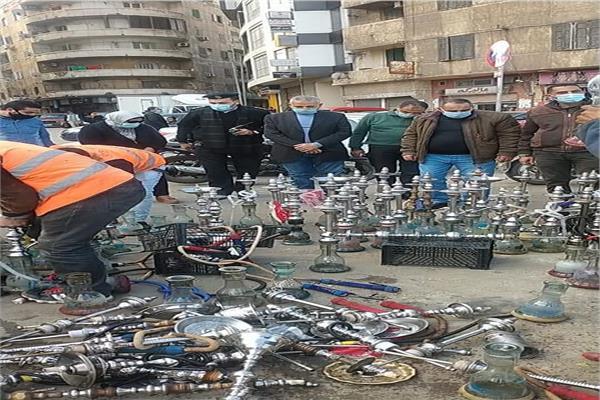 حى شرق الاسكندرية يعدم 150 شيشة