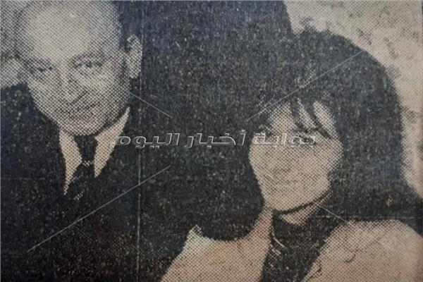 المليجي برفقة زوجته الثانية فوزية- أرشيف أخبار اليوم
