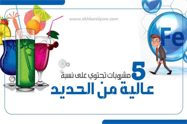 إنفوجراف |  لعلاج فقر الدم | 5 مشروبات تحتوي على نسبة عالية من الحديد
