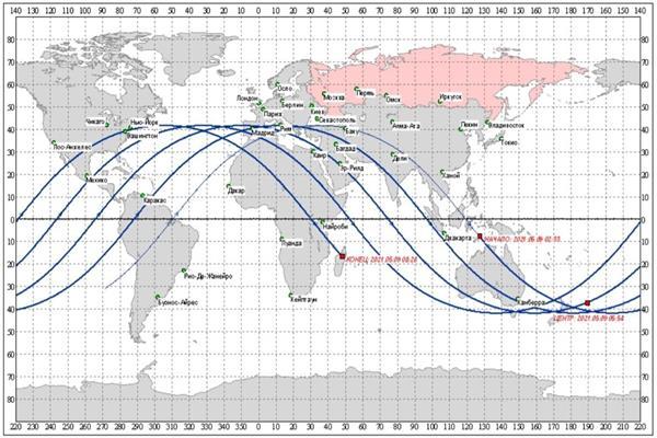 خريطة سقوط الصاروخ