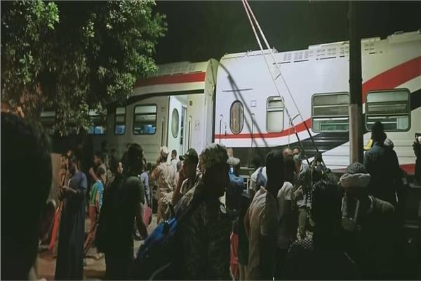 خروج قطار القاهرة اسوان عن القضبان بمنطقة العياط دون اصابات