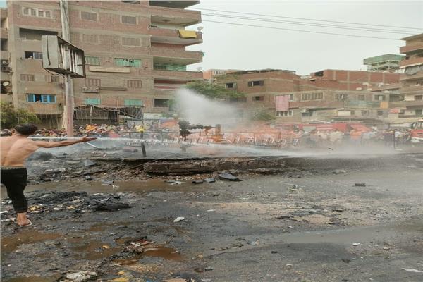 حريق هائل بالشارع الجديد بالقليوبية