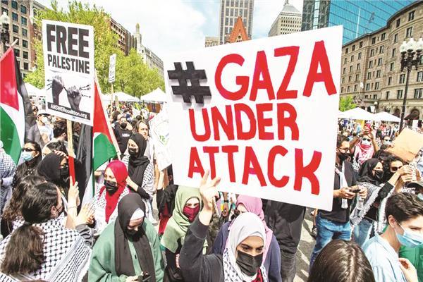 مظاهرة مؤيدة للفلسطينيين فى ساحة كوبلى بوسطن