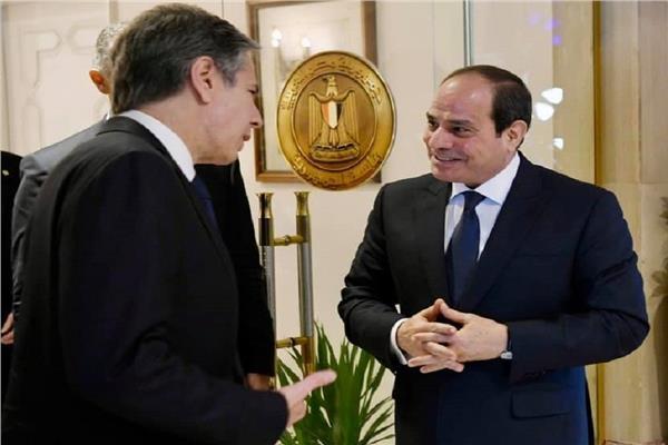 الرئيس عبدالفتاح السيسي خلال استقباله بلينكن - أرشيفية